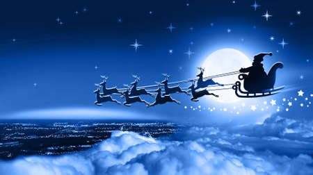 Winter christmas night. Santa Claus in a sleigh fly over Earth on background of full moon