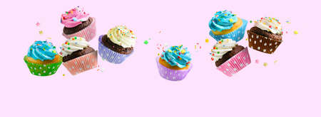 Delicious Cupcakes for party, birthday. Various cupcakes with pink white and blue cream flying over pink background