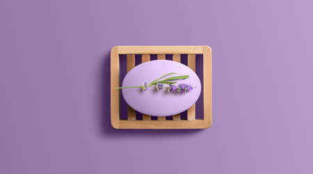 Lavender soap on wooden dish. Copy space 版權商用圖片