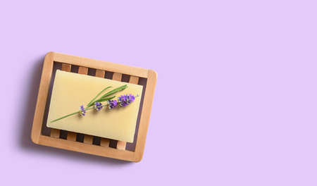Homemade lavender soap on wooden dish. Copy space 版權商用圖片