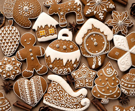 Homemade christmas cookies background. 版權商用圖片