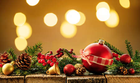 Festive Christmas decoration on wooden table.