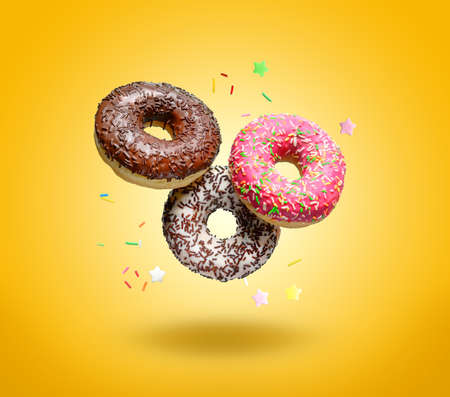 Flying donuts on yellow background.