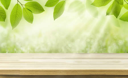 Empty table for product display template over blurred green spring background. 版權商用圖片