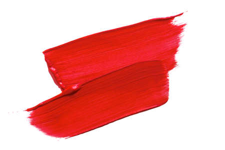 Paint Brush Strokes of red paint on white