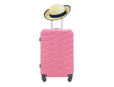Pink Suitcase with wheels and sun hat isolated on white
