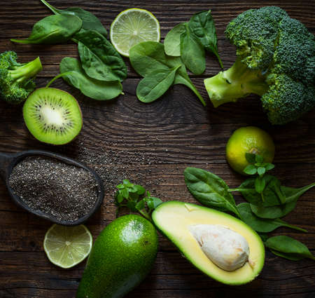 Healthy eating concept with avocado, chia seeds and spinach leaves, broccoli 版權商用圖片