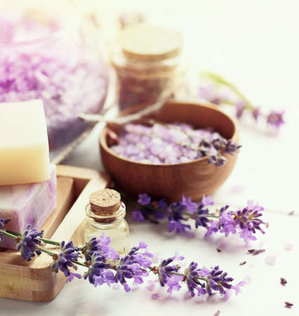 Lavender soap and Spa products 版權商用圖片