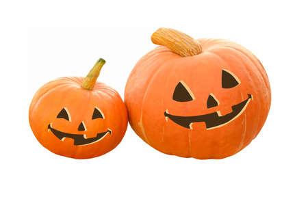 Halloween Pumpkin, smiling Jack OLantern isolated on white background