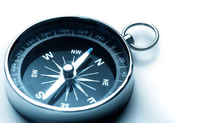 Metal Navigational Compass on a white