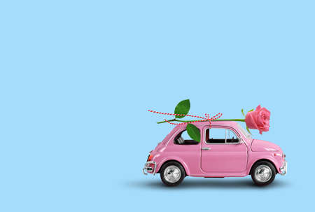 Pink toy car delivering pink rose flower on a blue background. Flowers delivery, women day, valentine day.