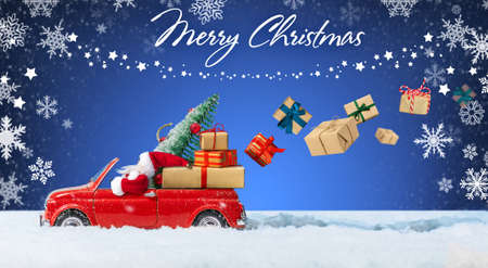 Santa Claus in Red car delivering christmas or New Year gifts on a blue snowy background.