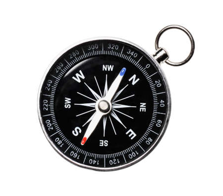 Metal Navigational Compass isolated on a white. Directly above 版權商用圖片