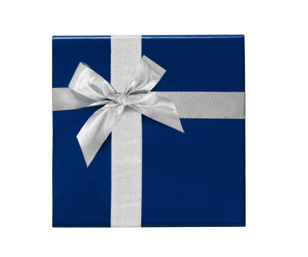 Blue Gift Box with silver ribbon and bow isolated on white background. Top view