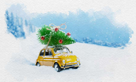 Watercolor Retro yellow car carrying christmas tree on roof in snowy winter forest. Christmas background. Holidays card.