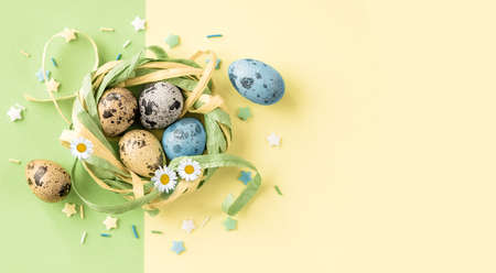 Easter card with quail Easter eggs.