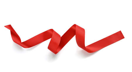 Satin red ribbon on a white background