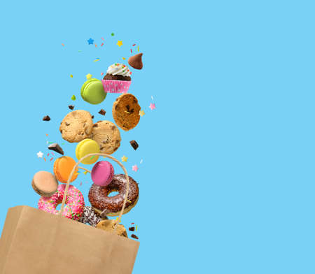 Various Sweets, confectionery concept background, banner. Copy space.