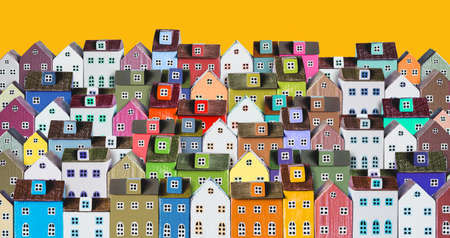 City background with rows of wooden colorful houses