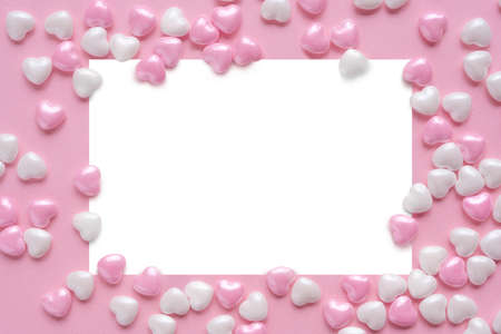 Valentines Day frame decoration with pink hearts. Wedding invitation. Pink border template. Copy space