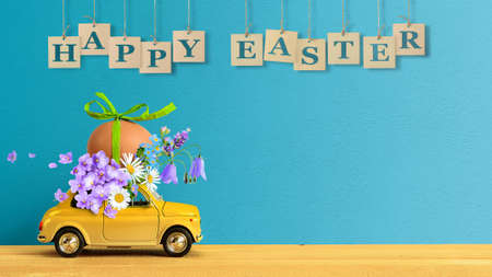 Retro car carrying an easter egg and bunch of flowers on the roof. Copy space Standard-Bild