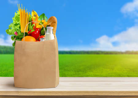 Paper bag full of different groceries on nature landscape background