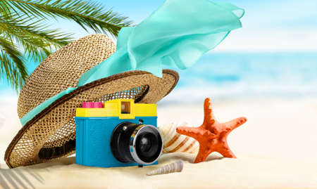 Summer tropical Vacation background. Composition on the beach 写真素材