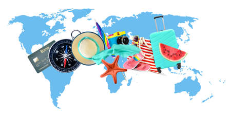 Leisure and travel accessories collage on world map background.