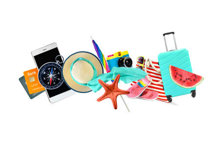 Leisure and travel accessories collage isolated on a white background.