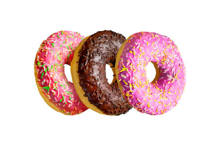 Assorted doughnuts isolated on white