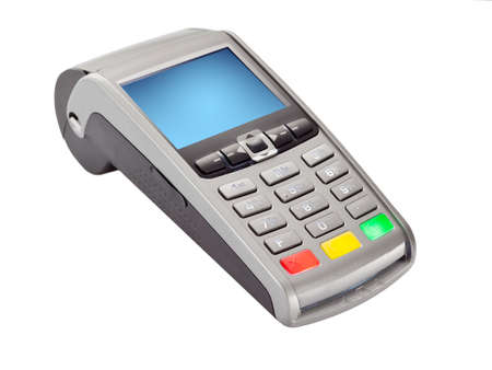 POS Payment Terminal for credit card payments isolated on white