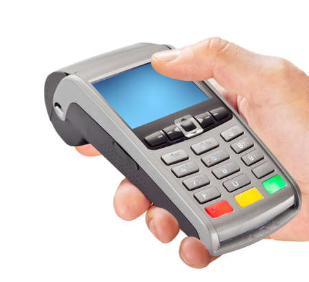 Hand holding POS pay terminal isolated on white background