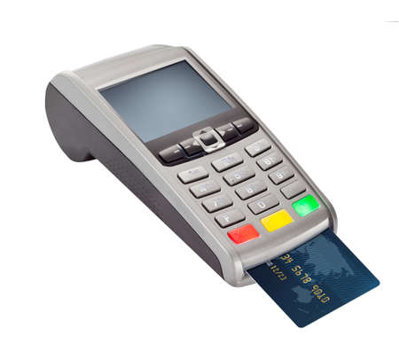 POS Payment Terminal with credit card isolated on white