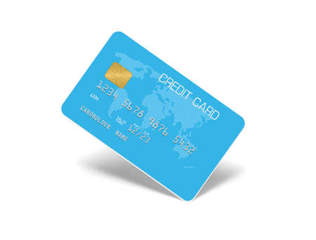 Aqua blue Credit Card Isolated on white with shadow 写真素材
