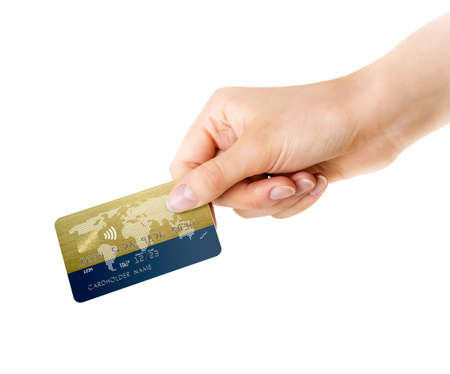 Womans hand holding gold blue bank card isolated on a white background