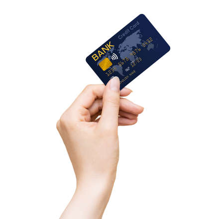 Womans hand holding blue bank credit card isolated on a white background
