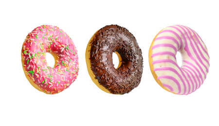 Assorted colorful doughnuts isolated on white background 写真素材