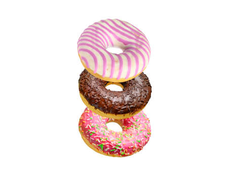 Assorted doughnuts in stack isolated on white background 写真素材