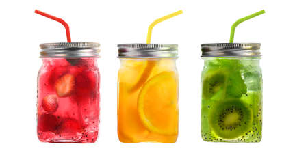 Bright Colorful refreshing summer drinks in glass jars with lid and straws isolated on a white background