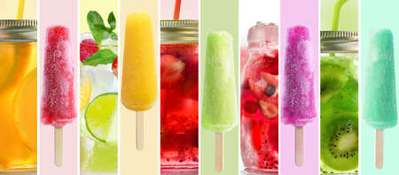 Summer collage of cold drinks sticks