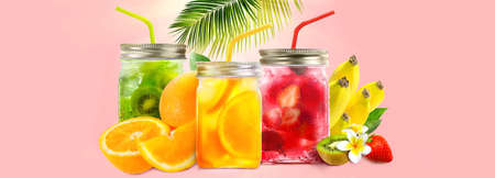 Fresh juice in jars with fruit mix on pink background. Concept of healthy summer cocktails, drinks, lemonade. Summer holiday