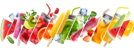 Summer collage of cold drinks with fruits sticks