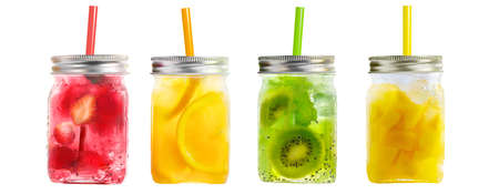 Bright Colorful refreshing summer drinks in mason jars with lid and straws isolated on a white background
