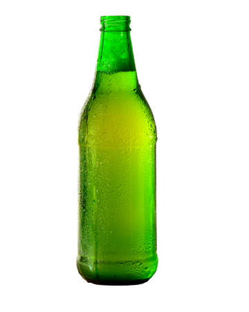 Green Beer bottle isolated on white. Archivio Fotografico