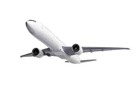 White modern Airliner isolated on white background. Banco de Imagens