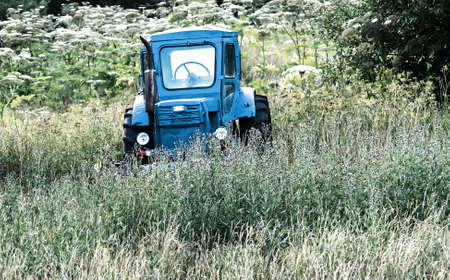 Old blue tractor on the tall grass field Banco de Imagens