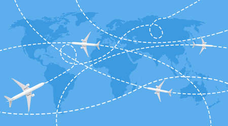 Trajectories of passenger aircraft on the blue world map