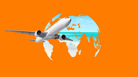 Airplane flying around the world map. Travel concept