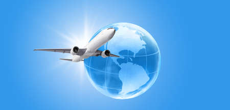 Airplane flying around the earth globe. Traveling and vacation concept