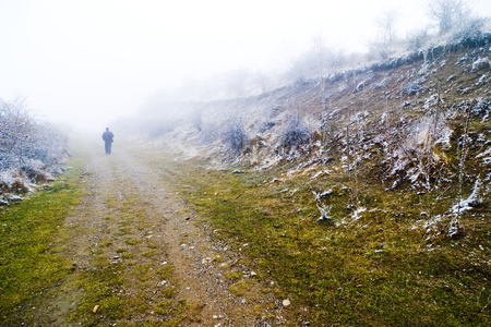 quietness: Person walking on misty pathway, lonely walk Stock Photo